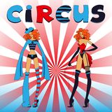 Two thin circus girls Royalty Free Stock Images