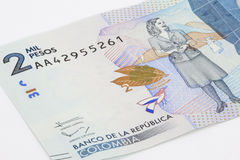 Two Thousand Colombian Pesos Bill Stock Photography