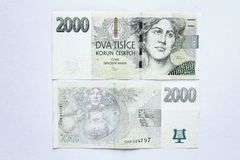 Two thousand crown. Banknote of two thousand czech crowns stock photo