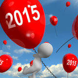 Two Thousand Fifteen on Balloons Shows Year 2015 Royalty Free Stock Photography