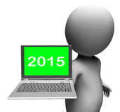 Two Thousand And Fifteen Character And Laptop. Showing New Year 2015 royalty free illustration