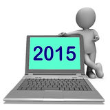 Two Thousand And Fifteen Character And Laptop Shows Year 2015 Stock Images