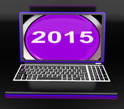 Two Thousand And Fifteen On Laptop Shows New Year 2015 Stock Images