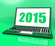Two Thousand And Fifteen On Laptop Shows Year 2015 Royalty Free Stock Photo