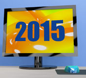 Two Thousand And Fifteen On Monitor Shows Year 2015 Stock Photo