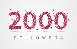 2000 two thousand followers. Origami birds. Vector. Illustration Royalty Free Stock Photography