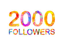 2000 two thousand followers. Triangular colorful inscription Royalty Free Stock Images