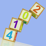 Two Thousand And Fourteen Blocks Mean Year 2014 Royalty Free Stock Photo
