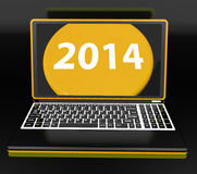 Two Thousand And Fourteen On Laptop Shows New Year Resolution 2014. Two Thousand And Fourteen On Laptop Showing New Year Resolution 2014 stock illustration