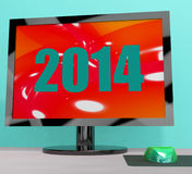 Two Thousand And Fourteen On Monitor. Showing Year 2014 stock illustration