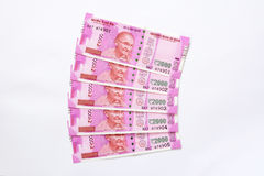 Two Thousand Indian Rupee Notes. 5 Two Thousand Indian Rupee notes on white background Stock Images