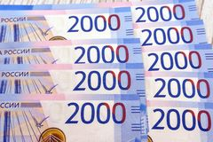 Two thousand rubles with one banknote. New Russian banknote in two thousand rubles in 2017. Cash paper blue money. royalty free stock images
