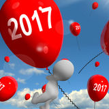 Two Thousand Seventeen on Balloons Shows Year 2017 Stock Photos