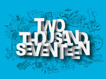 Two Thousand Seventeen Doodle design elements for holiday cards Royalty Free Stock Image
