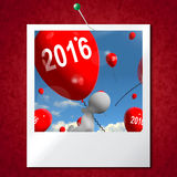 Two Thousand Sixteen on Balloons Photo Shows Year 2016 Royalty Free Stock Images