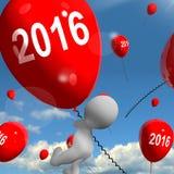Two Thousand Sixteen on Balloons 2016. Two Thousand Sixteen on Balloons Showing Year 2016 royalty free illustration