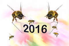 Two thousand sixteen - 2016. Two bees holding a blank sign (banner) with figures of two thousand sixteen and honey bees flying. Natural motion blur colors Stock Photography