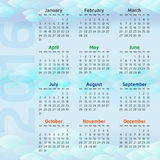 Two Thousand Sixteen Calendar. On clear water background Royalty Free Stock Photo