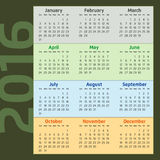 Two Thousand Sixteen Calendar. With seasons colors Royalty Free Stock Photo