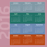 Two Thousand Sixteen Calendar. With seasons colors Royalty Free Stock Photography