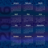 Two Thousand Sixteen Calendar. On stary night background Royalty Free Stock Photos