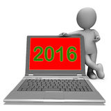 Two Thousand And Sixteen Character Laptop Shows Year 2016 Stock Photo