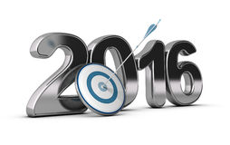 2016, Two Thousand Sixteen. 3D metallic Year 2016 with a target at the foreground with an arrow hitting the center, concept image for achieving business Stock Photo