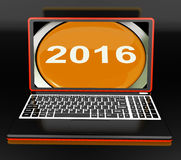 Two Thousand And Sixteen On Laptop Shows New Year 2016 Stock Photography