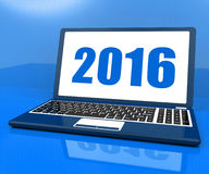 Two Thousand And Sixteen On Laptop Year 2016. Two Thousand And Sixteen On Laptop Showing Year 2016 Stock Image