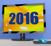 Two Thousand And Sixteen On Monitor Shows 2016 Stock Photos