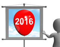 Two Thousand Sixteen on Sign Shows Year 2016. Two Thousand Sixteen on Sign Showing Year 2016 Stock Photo