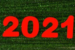 Year 2021 of red numbers royalty free stock photography