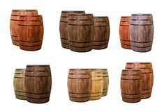 Two and three barrels of oak winemaking aging drinks dark brown and light beige, marked with a shadow stock image