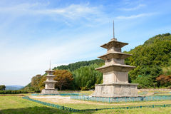 Two three story stone pagoda at the Gameunsa site Stock Photos