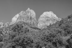 Two of three. Two of the three brothers of the court of the patriarch in Zion national park in Utah stock photo