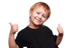 Two thumb up. Young boy with two thumb up isolated over white background Stock Images