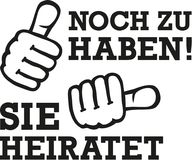 Two thumbs for bachelorette party - she`s getting married german. Vector Stock Photo