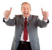 Two Thumbs Up!!. A businessman is showing his appreciation towards a job very well done Stock Photos