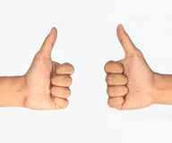 Two thumbs up. Isolated with white background Royalty Free Stock Photo
