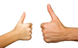 Two thumbs up. Isolated with white background Royalty Free Stock Photos