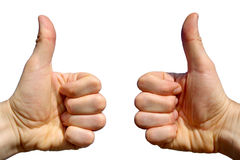 Two thumbs up. Two thumbs up on a white background Stock Images