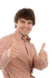 Two thumbs up!. Man giving two thumbs up Royalty Free Stock Image