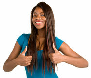 Two Thumbs Up. A beautiful African American woman is showing her appreciation towards a job very well done Stock Images