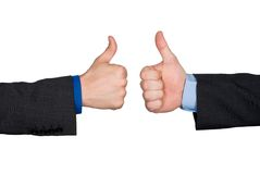 Two thumbs up hand sign Stock Photo