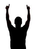Two thumbs up. In silhouette isolated over white background Royalty Free Stock Photos