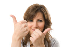 Two thumbs Up. Young business woman smile. Royalty Free Stock Photos