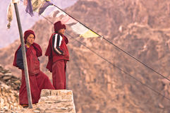 Two Tibetan Children. Buddhist Monks, India, Leh, April 2011 royalty free stock photography
