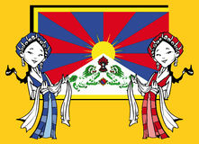 Tibetan girls with Khata and Tibetan Flag,Cartoon Stock Photography