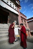 Two tibetan lama students Stock Photography