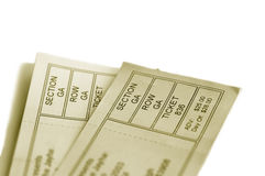 Two tickets. Two event tickets closeup on white Royalty Free Stock Photo
